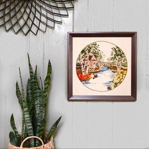 Vintage large crewel embroidery art cottage bridge